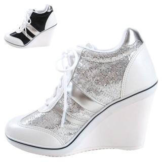 Picture of Blingstyle Shoes Metallic Sneaker Wedges 1022752348 (Sneakers, Blingstyle Shoes Shoes, Korea Shoes, Womens Shoes, Womens Sneakers)