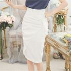 Frill-Trim Pencil Skirt 1596
