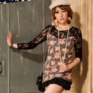 Buy I'Miusa Floral Pattern Lace-Detail Top 1022094498