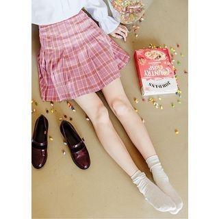 Pleated Plaid Mini Skirt 1057438993