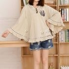 Cat Appliqu  Hooded Cape Top 1596