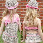 Kids Set: Leopard Print Bikini / Swimsuit + Swim Cap 1596