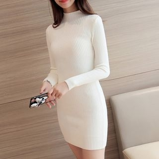Mock-Neck Rib Knit Dress 1063543107