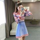 Set: Striped Knit Top + A-Line Knit Skirt 1596