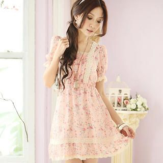 Buy Tokyo Fashion Crochet-Trim Puff-Sleeve Chiffon Dress 1022968562