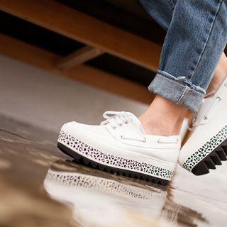Leopard Print Platform Deck Shoes