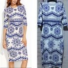 Elbow-Sleeve Patterned Sheath Dress 1596