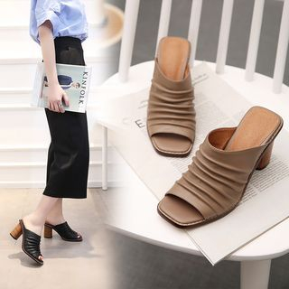 Genuine-Leather Slide Sandals 1055532005