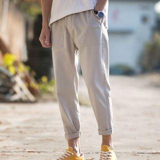 Image of Elastic-Waist Plain Straight-Leg Pants