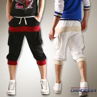 Picture of DANGOON Color-Block Cropped Sweatpants 1022517905 (DANGOON, Mens Pants, Korea)