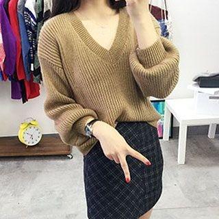 V-neck Ribbed Sweater 1047575323