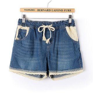 Lace Trim Denim Shorts 1065312498