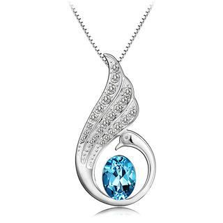925 Sterling Silver Angel Wings Pendant with Blue Swarovski Element Crystal and 45cm Necklace