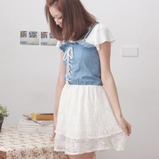 Picture of Choya Drawstring Lace Layered Dress 1022757281 (Choya Dresses, Womens Dresses, Taiwan Dresses)