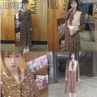 Floral Print Long Sleeve Dress / Knit Vest 1596