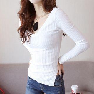 Long-Sleeve V-Neck Ribbed T-Shirt 1064725940