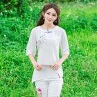 Floral Print Elbow Sleeve Cheongsam Top 1596