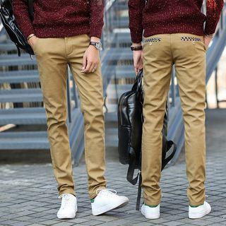 Fleece-Lined Straight-Cut Pants