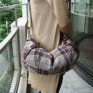 Picture of anello Faux Leather Trim Plaid Hobo Bag Beige and Black - One Size 1020426918 (anello, Hobo Bags, Japan Bags, Womens Bags, Womens Hobo Bags)