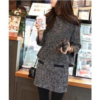 Set: Tweed Long-Sleeve Top + Tweed Skirt
