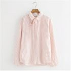 Long-Sleeve Bow-Accent Striped Blouse 1596