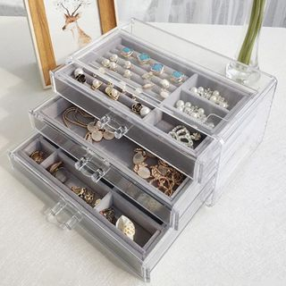 Image of Transparent Plastic Drawer Jewelry Box (S) Plastic Jewelry Box + Flannel Jewelry Box - One Size