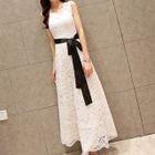 Sleeveless Maxi Lace Dress 1596
