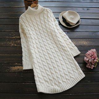 Mock-neck Ribbed Long-Sleeve Knit Top 1063770275