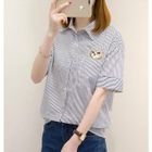 Short-Sleeve Pinstriped Blouse 1596