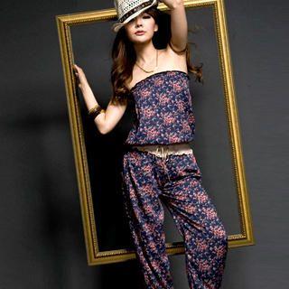 Buy I'Miusa Strapless Floral Chiffon Jumpsuit 1022859204