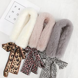 Image of Leopard Print Bow Accent Furry Scarf