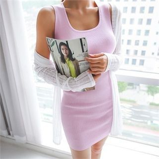 Sleeveless Ribbed Dress 1050934008