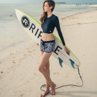 Set: Lattice Back Cropped Rashguard + Houndstooth Swim Bottom + Printed Shorts 1596