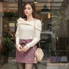 Bow-Accent Tweed Mini Skirt 1596