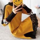 Lace Hem Long Sleeve Knit Dress 1596