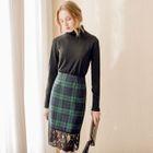 Lace-Panel Plaid Pencil Skirt 1596