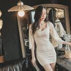 U-Neck Chiffon-Sleeve Mini Dress 1596