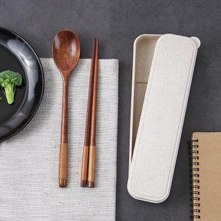 Set of 3: Wool Chopsticks + Spoon + Case Wool Chopsticks & Spoon & Case - One Size