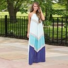 Color Block Sleeveless Maxi Chiffon Dress 1596