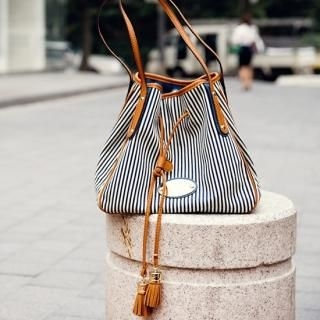 Buy pinkdiamond Drawcord Striped Shoulder Bag 1022871517