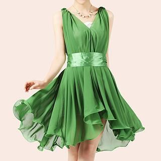 Sleeveless Belted Shirred Dress