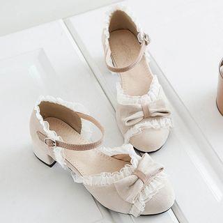 Image of Lace Trim Bow Ankle Strap Block Heel Pumps