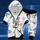 Set: Hooded Short-Sleeve Print Jacket + Cropped Sweatpants 1596