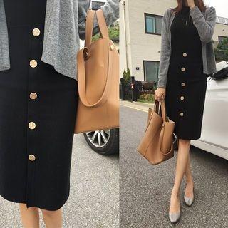 Metallic Button-Down Pencil Skirt