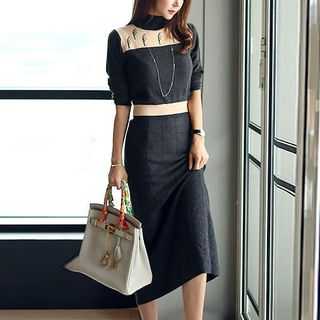 Image of Color Block Turtleneck Midi Sweater Dress