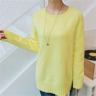 Round-Neck Slit-Sleeve Knit Top 1056993909