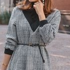 Inset Turtle-Neck Checked A-Line Dress With Belt 1596