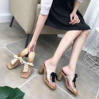 Image of Lace Up Block Heel Slide Sandals