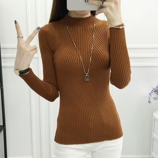 Ribbed Mock-neck Knit Top 1053764559