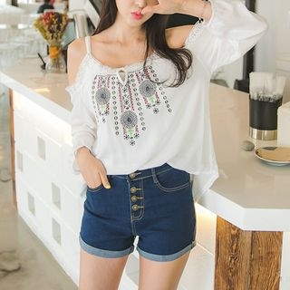 Cutaway-Shoulder Embroidered Top 1059776281